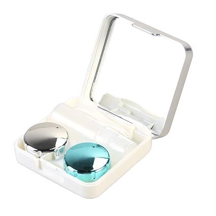 Caja de Lentes de Contacto Kit de Viaje ROSENICE Estuche Lentillas con Pinza Aplicador Palo Botella de Solución Espejo Incorporado (Blanco Plata)