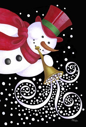 Toland Home Garden Trumpeting Snowman 12.5 x 18-Inch Decorative USA-Produced Garden Flag