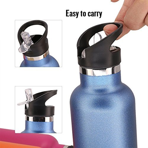 TOPOKO 25 OZ Double Wall Water Bottle Straw Lid with Handle, Vacuum Insulated Stainless Steel Bottle, Sweat Proof, Leak Proof Thermos Standard Mouth, Vacuum Seal Cap Mug (Straw Lid Blue) by TOPOKO (Image #3)