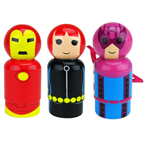 Bif Bang Pow! Marvel Classic Set of 3 Iron Man, Black Widow, Hawkeye Pin Mate Wooden Figure