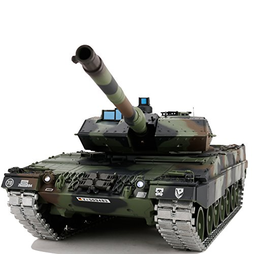Modified Edition 1/16 2.4ghz Remote Control German Leopard 2A6 Tank Model(360-Degree Rotating Turret)(Steel Gear Gearbox)(3800mah Battery)(Metal Tracks &Sprocket Wheel & Idle Wheel) ()