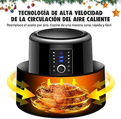OMORC Freidora sin Aceite【Capacidad 5.5L, 7 Modos de Cocción, 1800W】, Freidora de Aire Apagado Automático, Libre de BPA, Material de Grado ...