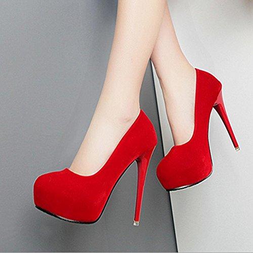 mzg de zapatos de mujer con tacones altos cabeza redonda resistente al agua banco fina talón y zapatos rojo