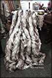 Fur Accents Throw Blanket Warm White Gray and Black Snow Shoe Rabbit Fur /60'' X 70''