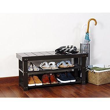 Espresso Finish 2-Tier Solid Wood Storage Shoe Bench Shelf
