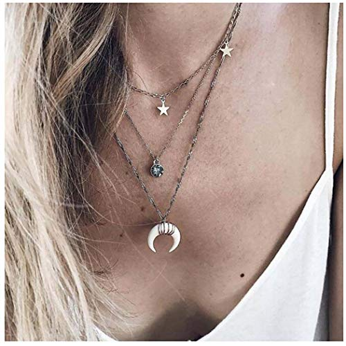 (Olbye Layering Horn Necklace Choker Moon Star Necklace Silver Pendant Necklace for Women and Girls (Silver))