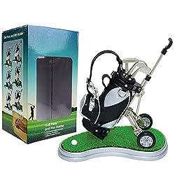 Kofull Mini Desktop Golf Bag Pen Holder Clock Golf Bag Holder Novelty Golf Model with Golf Pen Mini Desktop Gift for Golfer