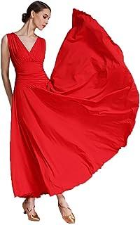 Col en V Robes de Danse de Salon Nationales pour Femmes Costume de Performance Tango Valse Tenue de Danse sans Manches Jupe de Pratique Wanmei