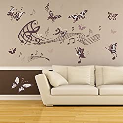Amaonm Removable Cartoon Lovely Hote Fashion DIY Vinyl Music Butterfly Wall art Decor Decal Stickers for Girls lady Kids Bedroom Living Room Offices Classroom Nursery room