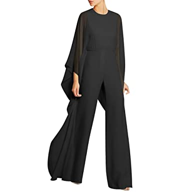 4a23a5b3d8e1 Jiujiuyi Women s Flare Sleeve Loose Zipper Back Chiffon Wide Leg Jumpsuit  Romper (Small
