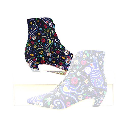 Unique Debora Custom Pointed Toe Low Heel Booties Ankle Short Boots for Women with Cats and Sugar Skills for Day of The Dead