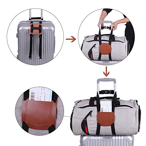 Luggage Strap Bag Bungee Add a bag Suitcase Belt for carry-on Luggage,Real Leather and Durable Travel Accessories (Brown)