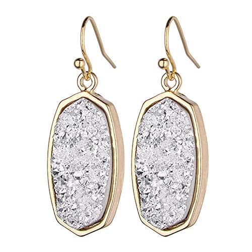 Jiami Geometric Resin Earrings Crystal Oval Dangle Drop Pendant Earring, (Silver Oval Drop Pendant)