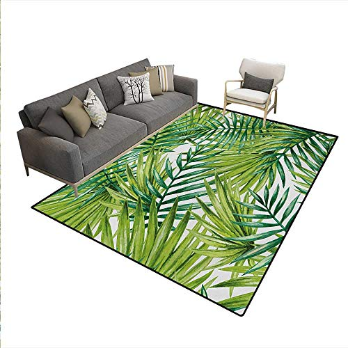 Carpet,Watercolor Tropical Palm Leaves Colorful Illustration Natural Feelings,Indoor Outdoor Rug,Fern Green Lime Green,6'6