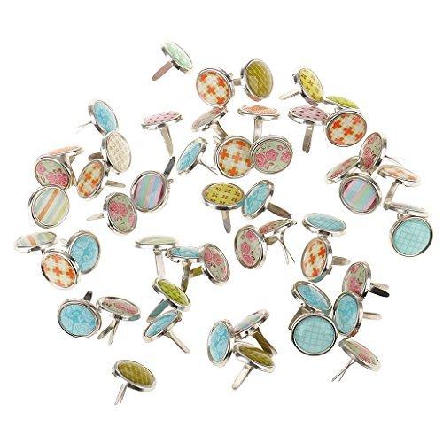 Jili Online 100 Pieces Mixed Metal Mini Decorative Brads Paper Fasteners for Paper Crafts Scrapbook DIY 12mm -
