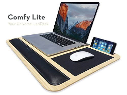 Comfy Lite LapDesk - Your Universal Lap Desk - Features Phone and Tablet Dock, Wrist Pad, Mousepad, and Laptop Heat Protection (Premium Natural Bamboo) ()