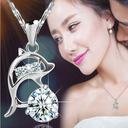 - konkanok shop Womens Silver Rhinestone Jumping Dolphins Pendant Necklace Love Souvenir Jewelry