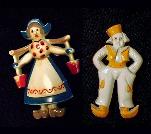 30's Celluloid Bakelite Brooches of Harworking Articulated Dutch Girl & Dutch Boy w/ Hands in His Pockets. Ha Ha Purchase Together or Individually.