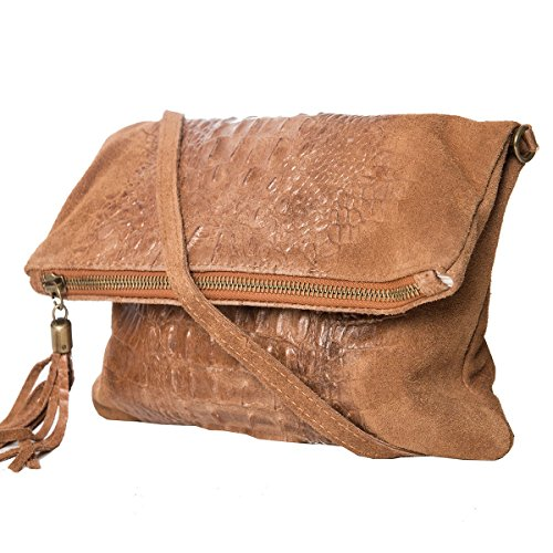 LightBrown 2059 28 real Crossbody Leather 19 Fashion Mod Clutch cm Croco Bag by 4 Formel OqAWwaz