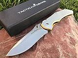 TacticalGearz Brushed Stainless Steel Folding Knife w/Copper Titanium Draw! Razor Sharp 440c Stonewashed Blade! Frame Lock!