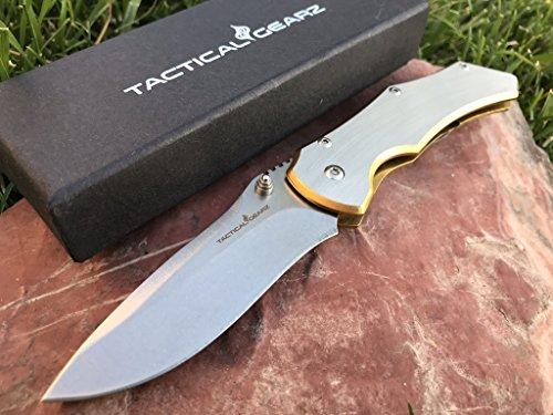 TacticalGearz Brushed Stainless Steel Folding Knife w/Copper Titanium Draw! Razor Sharp 440c Stonewashed Blade! Frame Lock! by TacticalGearz