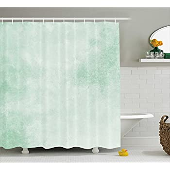 Ambesonne Mint Shower Curtain By Blurry Abstract Background Shady Pastel Toned Artful Modern Watercolor Murky Image Fabric Bathroom Decor Set With Hooks