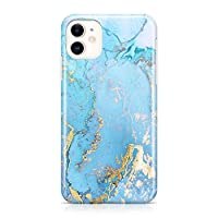 Blue Gold Marble Case Compatible with iPhone 11 6.1 inch Slim Shockproof Flexible TPU Soft Rubber Silicon Cover Compatible iPhone 11 XI
