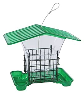 Belle Fleur Hopper Bird Feeder with Suet Holders with Roof, Green, 4 lb Seed Capacity and 2 Suet Capacity