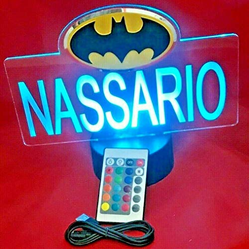 Batman Superheros Light Up Lamp LED Personalized with Name Night Light Engraved Table Lamp, Our Newest Feature - It's Wow, with Remote, 16 Color Options, Dimmer, Free Engraved, Great Gift ()