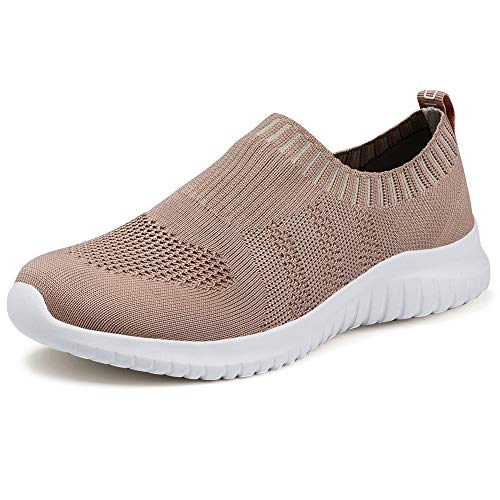 konhill Women's Walking Tennis Shoes - Lightweight Athletic Casual Gym Slip on Sneakers 13 US Apricot,45 ()