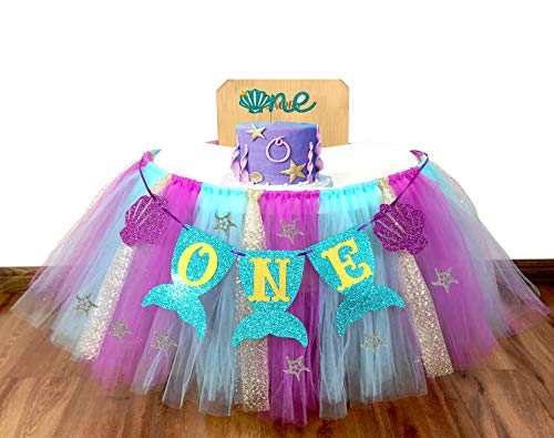 E&L 3 in 1 Mermaid Themed High Chair Decorations Set, High Chair Tutu (Purple, Blue & Gold), & Mermaid One Pennant Banner & Mermaid Cake Topper -One- for Baby Girl/Boy First Birthday Decorations]()