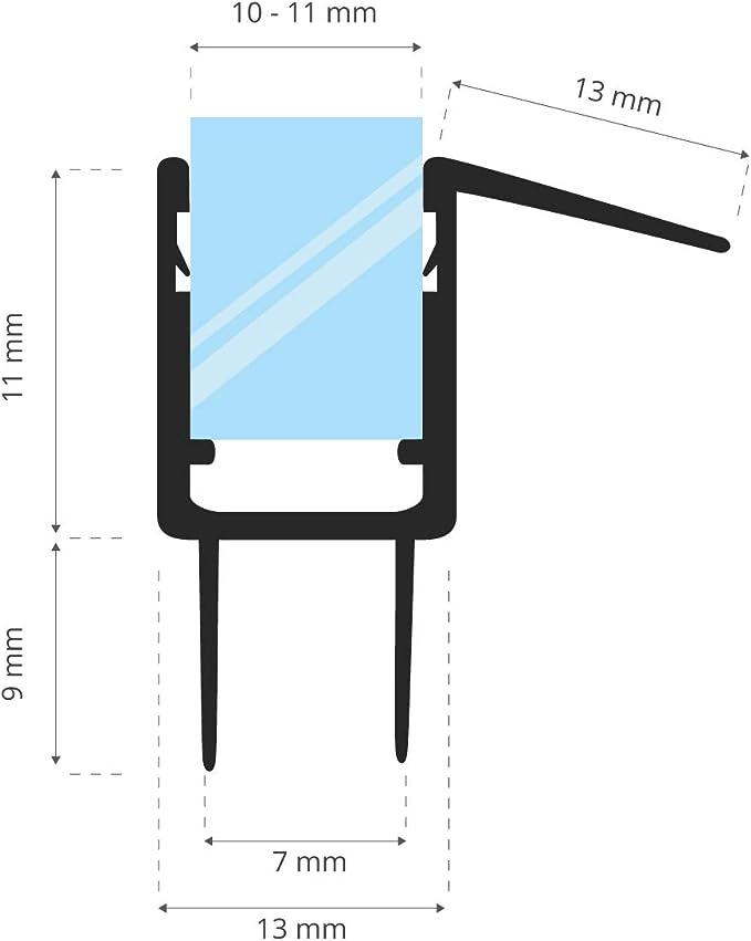 STEIGNER Guarnizione di Ricambio 150 cm UK20-10 per Vetri di Spessore 10 mm 11 mm