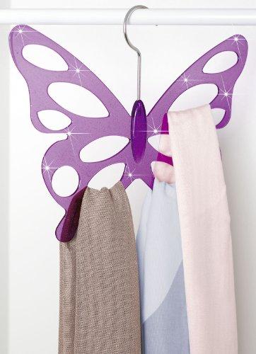 Wenko 8016500 , Percha para fulares con diseño de mariposa, 2 unidades, acrílico, 30,5 x 24,5 x 0,5 cm