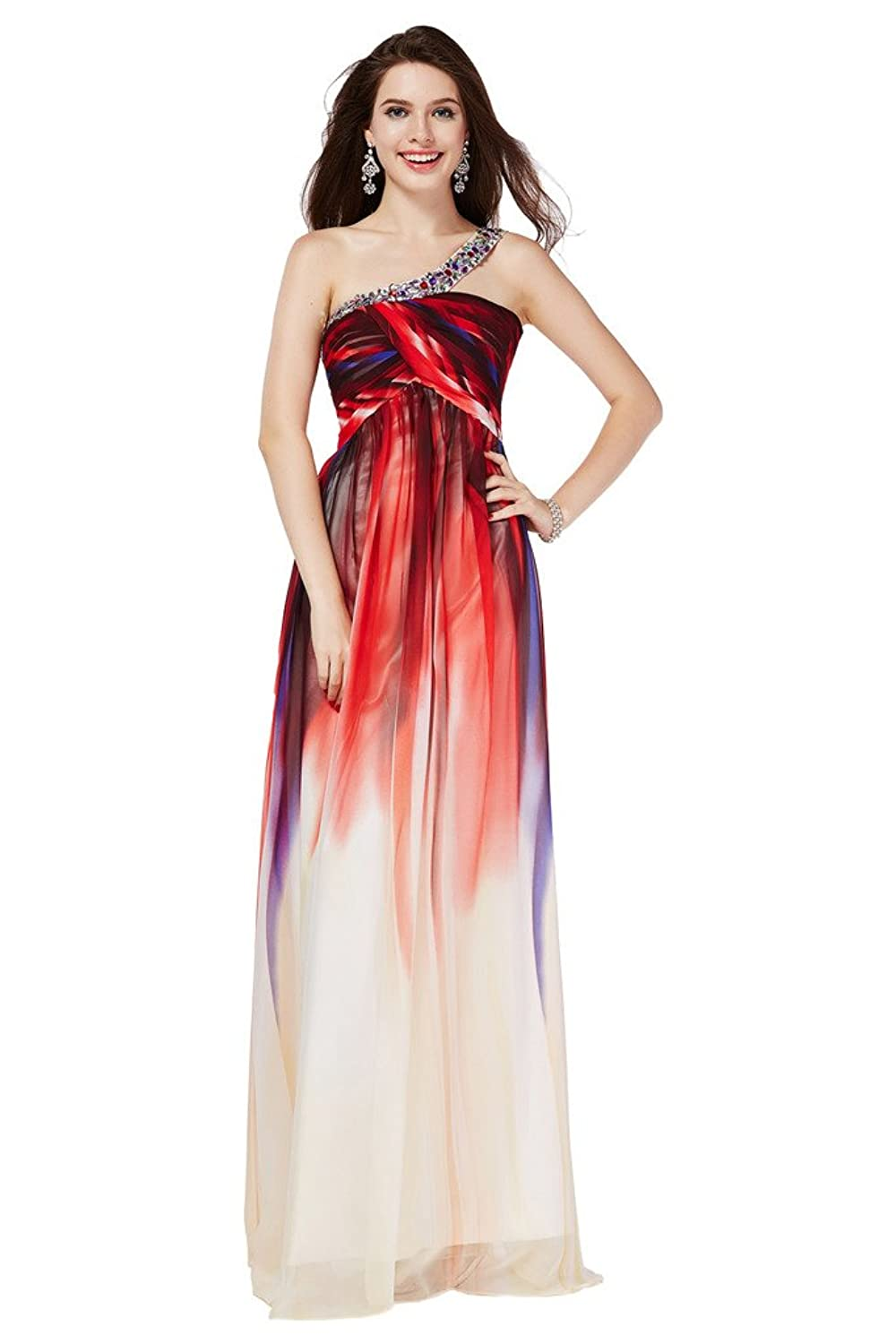 Gorgeous Bride Floral Printing Chiffon Evening Party Dresses Long Chic Prom Gown