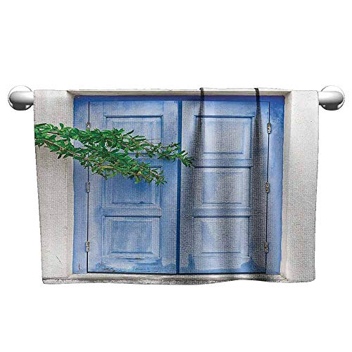 (duommhome Shutters Decor Collection Beach Towel Mediterranean Window Shutters Covered by Tree Print Heritage Greek Island Photo W31 x L63 Turquoise White )