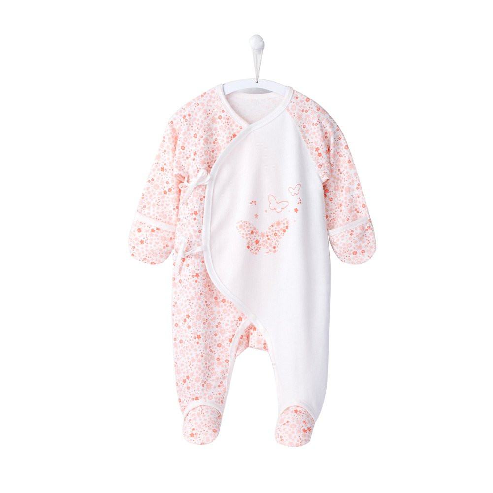 COBROO Baby Girl Bodysuit Footies with Mitten Cuffs Flowers Butterflies Pattern Long Sleeve Cotton Onesies for 0-6 Months