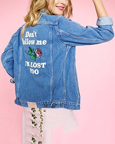 Denim Mujeres Manga Rasgados Capa Jacket Corta Azul Larga Abrigo de Chaquetas Mezclilla Rotos HUHaqTw
