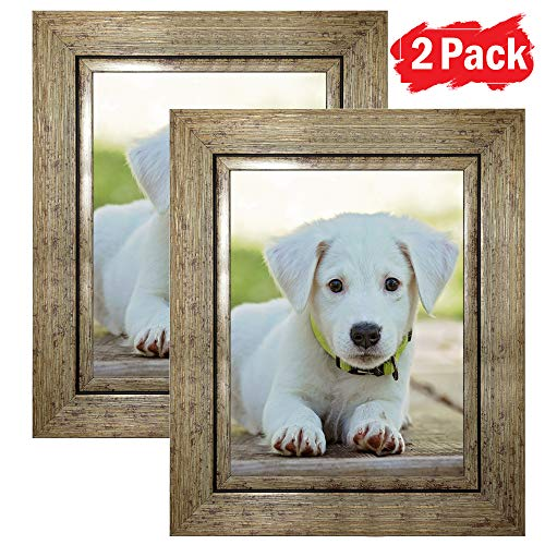 (DY Frame 8x10 Picture Frame Bronze Brown Rustic Home or Office Decor | Vertical or Horizontal Tabletop Stand or Wall Mounting | Baby, Pet, or Family Photos, Diploma)