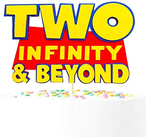 Handmade Two Infinity and Beyond Cake Topper Toy Story Cake Topper Space Buzz Lightyear Toy Story Inspired 2nd Birthday Party Decorations Supplies For Second Boys Girls Birthday