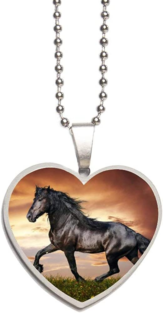 Wild Animal Cool Black Horse Sunset Art Necklace Personalized Engraved Heart Custom Gift Pendant-Valentines Day Love