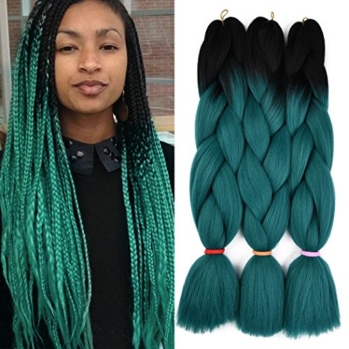 Braiding Hair for Twist Synthetic Hair Ombre Color Jumbo Braiding 2 Tone Kanekalon Fiber for Twist, (Black Synthetic Fiber)