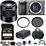 Sony Alpha a6000 Camera Body w/ 50mm Lens & Accessory Bundle - Graphite