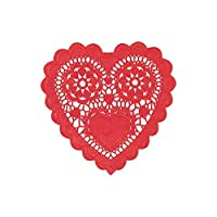 "Radiant Valentine's Day Party Heart-Shaped Paper Doilies , Red, Paper , 6"", Pack of 20"