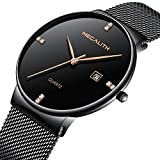 Mens Stainless Steel Mesh Bracelet Watches Men Waterproof Date Simple Design Luxury Black Wrist Watch