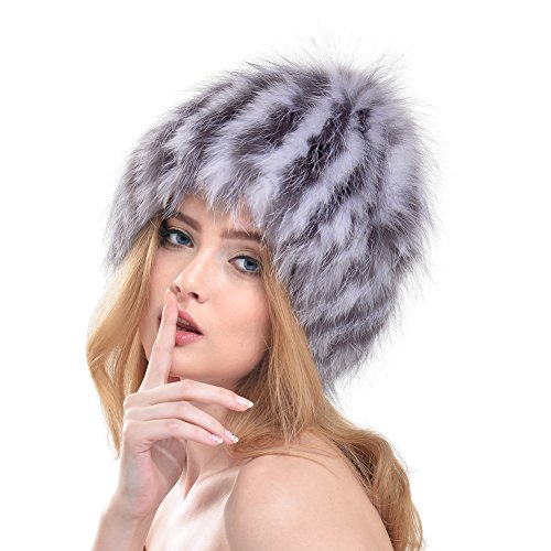 Bellefur Women Real knitted Fox Fur Beanies Cap Hat