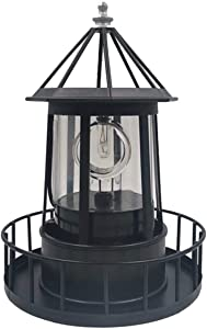 LED Solar Light Powered Rotating Lighthouse Beacon Lamp, Outdoor Courtyard Waterproof Solar Hanging Lamp, Lawn Lantern, for Patio Fence Garden Decoration Outdoor Lighting Home Decor