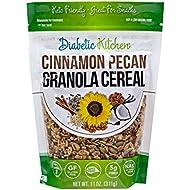 Diabetic Kitchen Cinnamon Pecan Granola Keto Cereal - Keto Friendly, 3 Net Carbs, No Added Sugar, Gluten-Free, 5g Fiber, Non-GMO, No Artificial Sweeteners or Sugar Alcohols