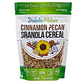 Diabetic Kitchen Cinnamon Pecan Granola Keto Cereal - Keto Friendly, 3 Net Carbs, No Added Sugar, Gluten-Free, 5g Fiber, Non-GMO, No Artificial Sweeteners or Sugar Alcohols