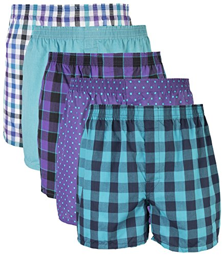 (Gildan Men's Woven Boxer Underwear Multipack, Mixed Purple, Large )
