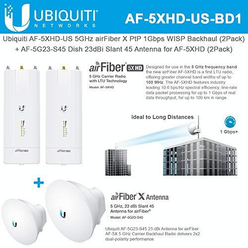 AF-5XHD US (2PACK) 5GHz airFiber Gbps Backhaul + AF-5G23-S45 2PACK 23dBi Slant 45 Antenna (Best Iptv Service Provider)